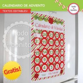 *GRATIS * Navidad verde y rojo: calendario adviento