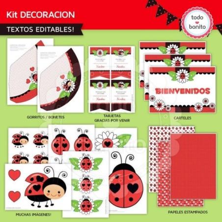 Ladybug rojo: decoración de fiesta imprimible