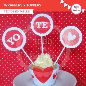 Corazones y pajaritos: wrappers y toppers para cupcakes