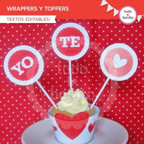 Corazones Y Pajaritos Wrappers Y Toppers Para Cupcakes