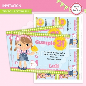 Granja nenas: invitación para imprimir
