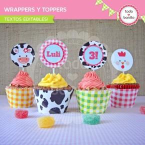 Granja niñas: wrappers y toppers para cupcakes
