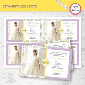Shabby Chic violeta y amarillo: tarjeta con foto