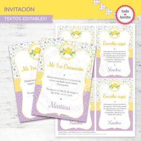 Shabby Chic violeta y amarillo: Invitación