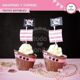 Princesa pirata: wrappers y toppers para cupcakes