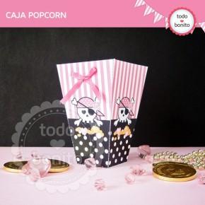 Princesa pirata: caja popcorn para imprimir