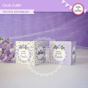 Shabby Chic Lila: cajita cubo