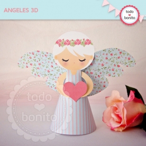 Shabby Chic aqua+rosa: angelitos 3D