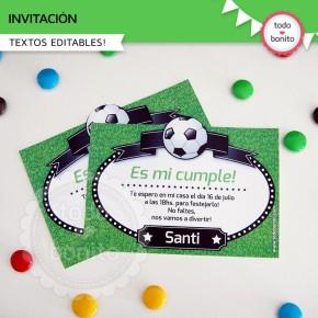 Fútbol: invitación para imprimir