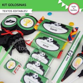 Fútbol: kit etiquetas de golosinas