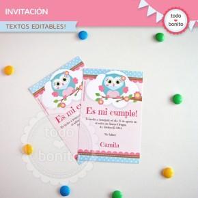 Búhos nena: invitación para imprimir