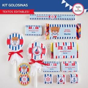 Osito Marinero: kit etiquetas de golosinas