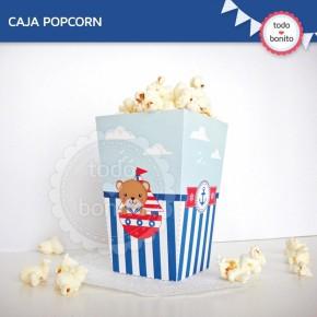Osito Marinero: Caja popcorn para imprimir