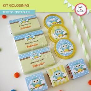 Búhos niños: kit etiquetas de golosinas
