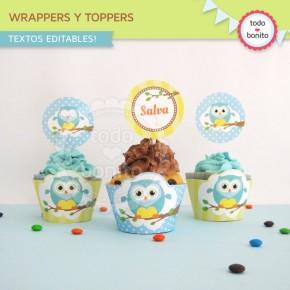 Búhos niños: wrappers y toppers