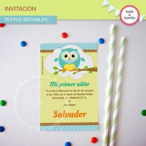 Búhos niños: invitación para imprimir