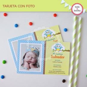 Búhos niños: tarjeta con foto