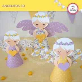 Shabby Chic violeta y amarillo: angelitos 3D