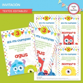 Monstruitos: invitación para imprimir