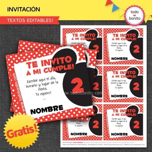 *GRATIS * Invitaciones inspiradas en Mickey Mouse