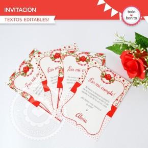 Shabby Chic Rojo: invitación para imprimir