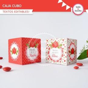 Shabby Chic Rojo: cajita cubo
