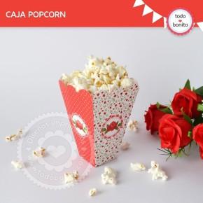 Shabby Chic Rojo: Caja popcorn para imprimir