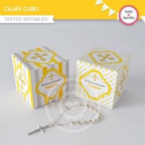 Cruz gris y amarillo: cajita cubo