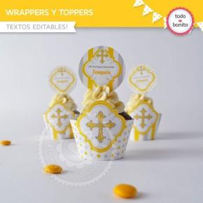 Cruz gris y amarillo: wrappers y toppers