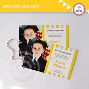 Cruz gris y amarillo: estampita con foto