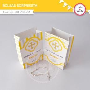 Cruz gris y amarillo: bolsa sorpresita para imprimir