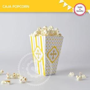 Cruz gris y amarillo: cajita popcorn