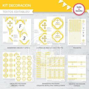 Cruz gris y amarillo: Kit decoración
