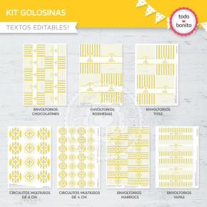 Cruz gris y amarillo:  kit etiquetas de golosinas
