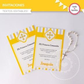 Cruz gris y amarillo: Invitaciones