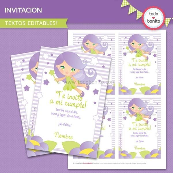 Hada Lila: invitación para imprimir
