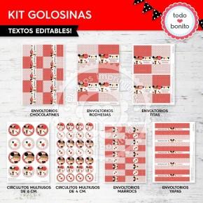 Orejas Mickey Rojo: kit etiquetas de golosinas