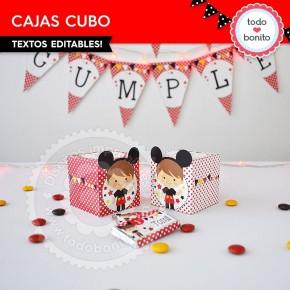 Orejas Mickey Rojo: cajita cubo