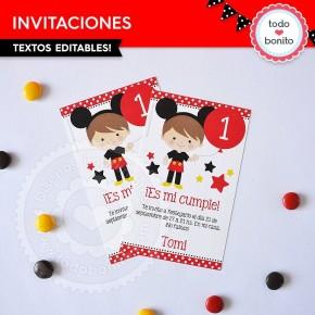 Orejas Mickey Rojo: invitación para imprimir
