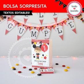 Orejas Mickey Rojo: bolsa sorpresita para imprimir