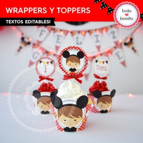 Orejas Mickey Rojo: wrappers y toppers para cupcakes
