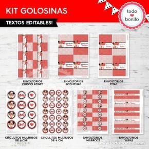 Orejas Minnie Rojo: kit etiquetas de golosinas
