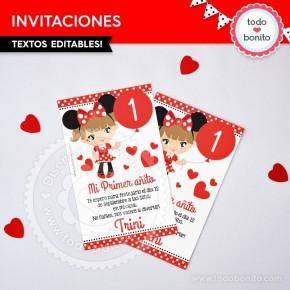 Orejas Minnie Rojo: invitación para imprimir