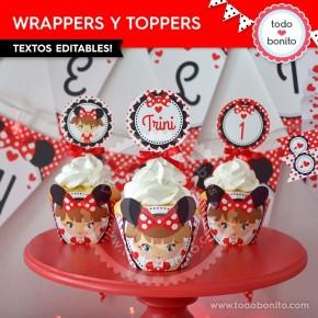 Orejas Minnie Rojo Niña: wrappers y toppers para cupcakes