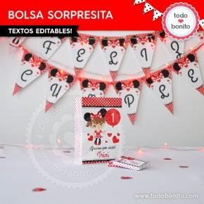 Orejas Minnie Rojo: bolsa sorpresita para imprimir