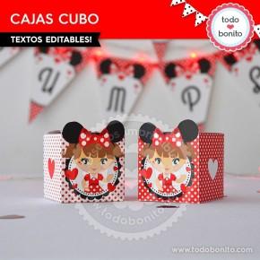 Orejas Minnie Rojo: cajita cubo