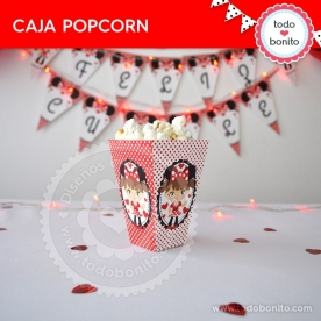 Orejas Minnie Rojo: cajita popcorn