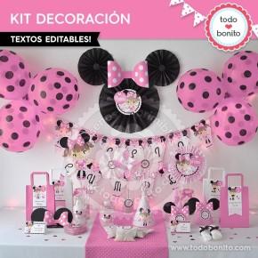 Orejas Minnie Rosa: decoración de fiesta
