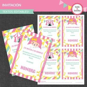 Circo niñas: invitación para imprimir