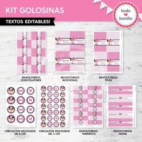 Orejas Minnie Rosa: kit etiquetas de golosinas